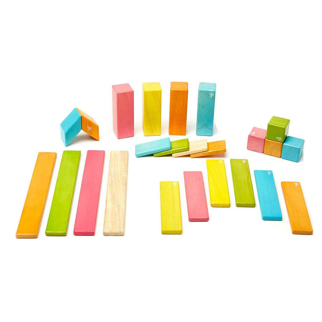 Tegu - Magnetic Wooden Blocks 24 Pc Set in Tints - Made in Honduras