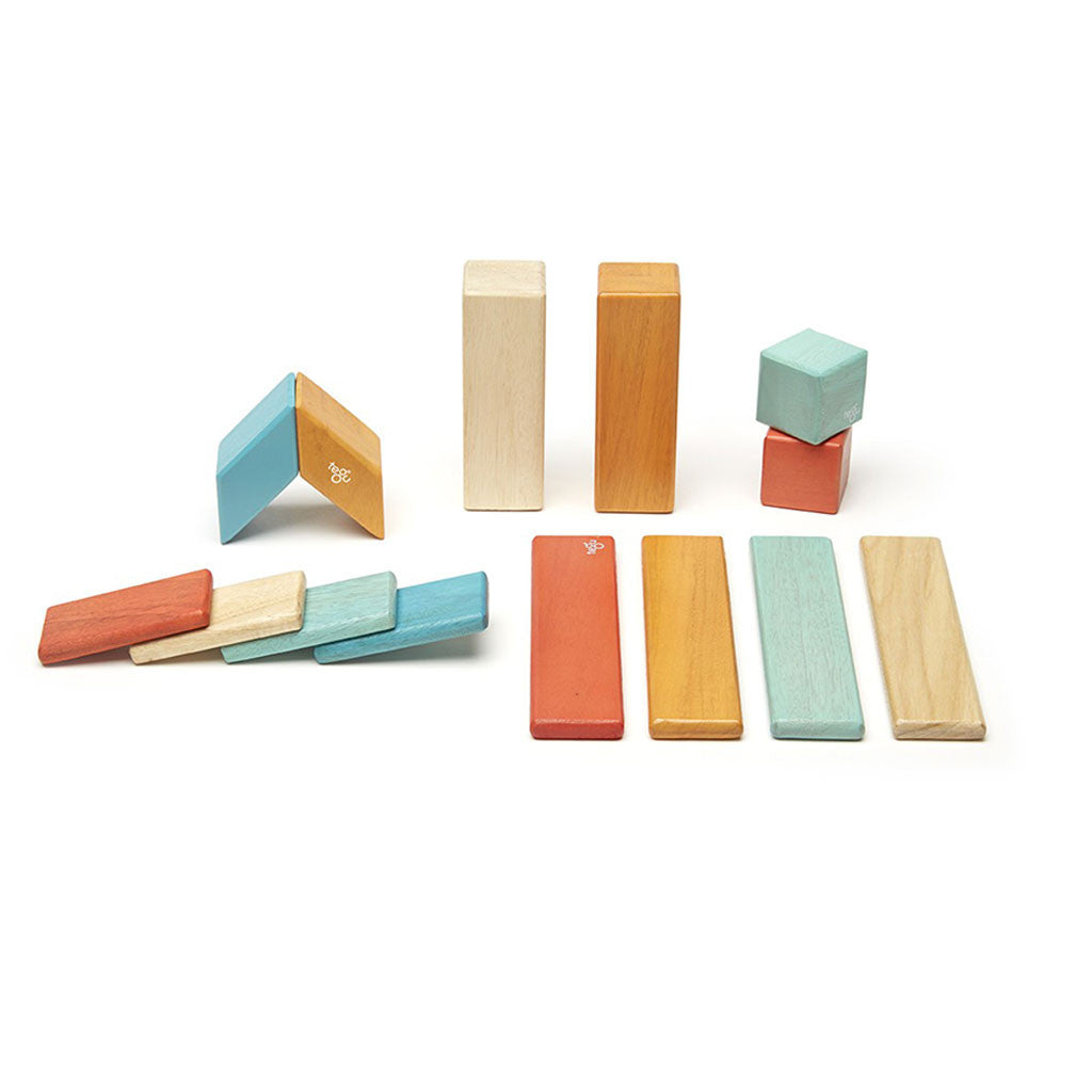Tegu - Magnetic Wooden Blocks 14 Pc Set in Sunset - Made in Honduras