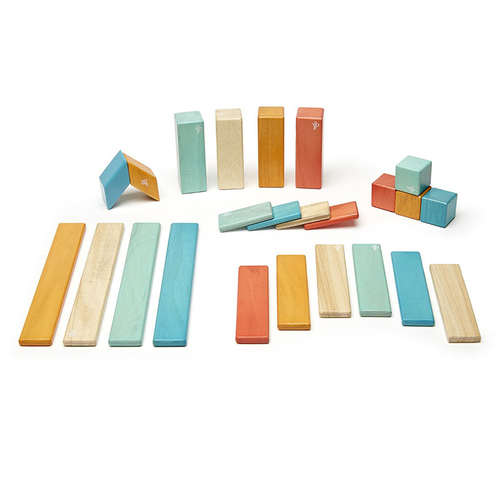Tegu - Magnetic Wooden Blocks 24 Pc Set in Sunset - Made in Honduras