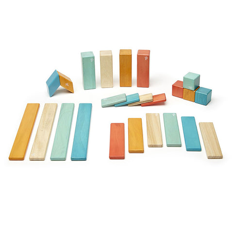 Magnetic Wooden Blocks 24 Pc Set Sunset Colors