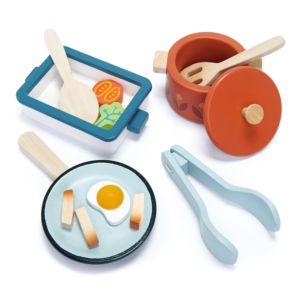 Tender Leaf Toys - Mint & White Pots and Pans Set