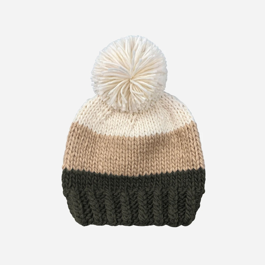 The Blueberry Hill - Tri Color Beanie - Green/Latte | Mapamundi Kids