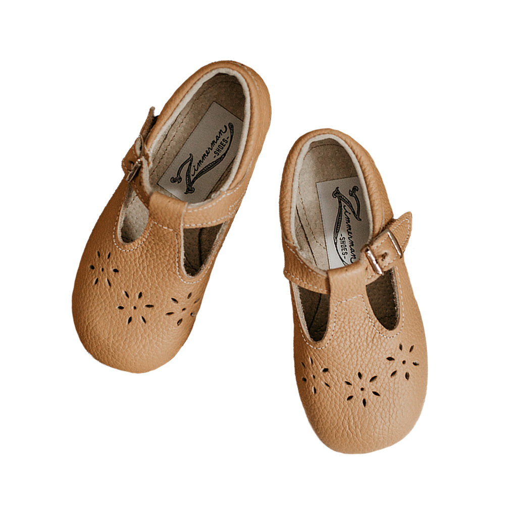 Zimmerman Leather Shoes - Flora T-Strap in Camel | Mapamundi Kids