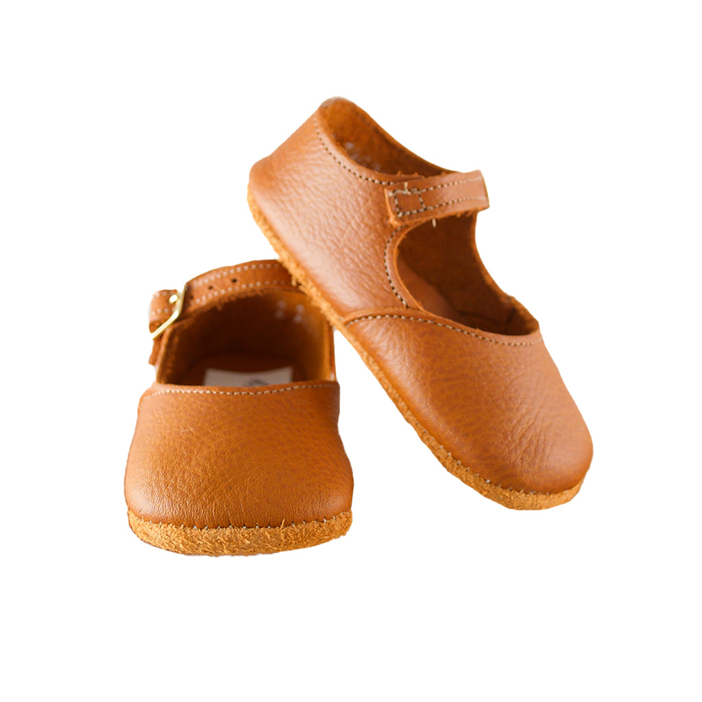 Zimmerman Leather Shoes - Soft Sole Mary Jane - Warm Brown | Mapamundi Kids