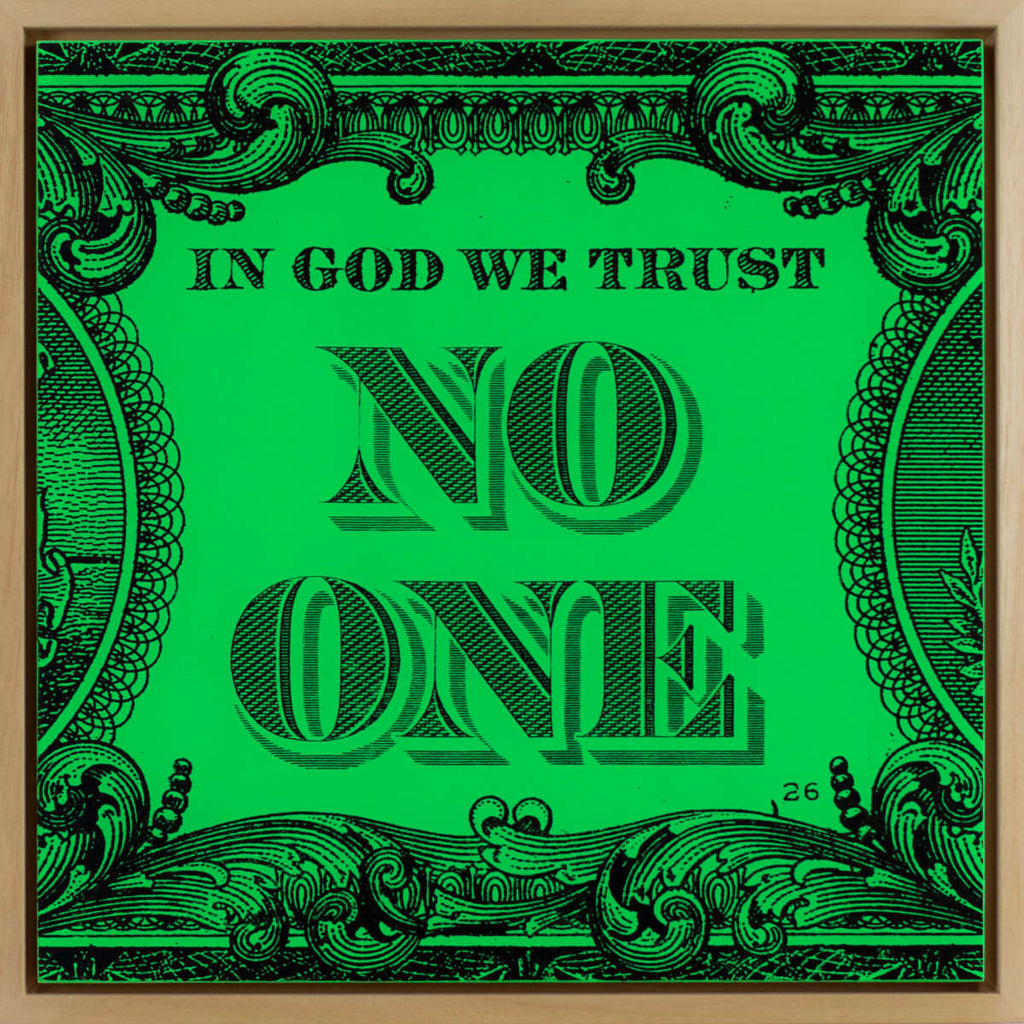 In God We Trust No One / Wood Panel Neon Green