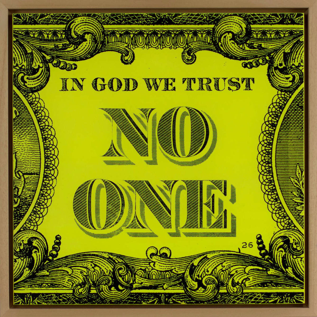 In God We Trust No One / Wood Panel Neon Yellow