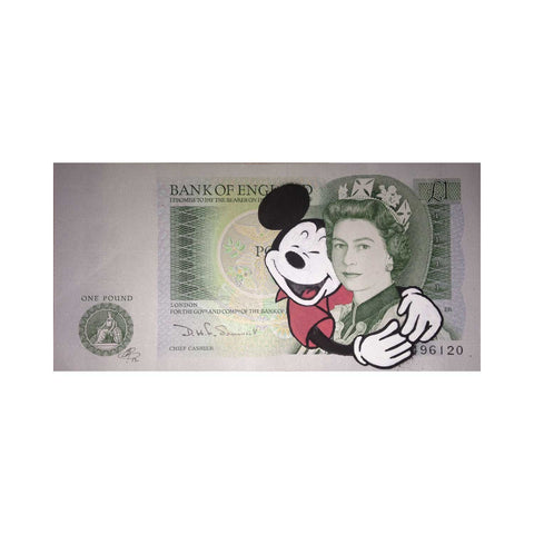 Lewis Bannister original artwork, Mickey Hug (pound note)