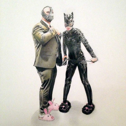 Zoe Moss print, Bane and Cat Woman
