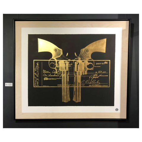 Elvis Gun Cheque / 24k Gold Leaf Birch Ply