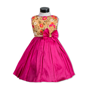 Beads embellished Party Dress with Flower Fuschia Pink