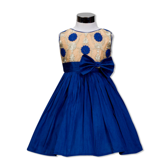 Gold foil printed Peplum Dress with Flower & Beads necklace Navy Blue
