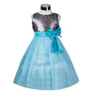 Beads embellished Party Dress with Flower Aqua Blue