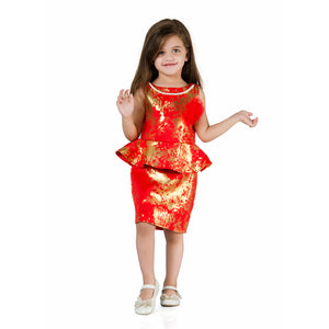 Gold foil printed Peplum Dress with Flower & Beads necklace Red