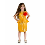 Gold foil printed Peplum Dress with Flower & Beads necklace Mustard