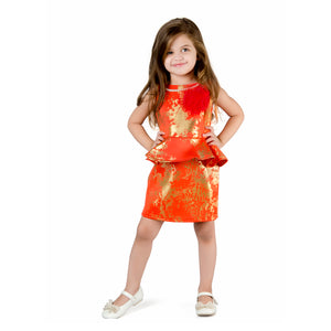 Gold foil printed Peplum Dress with Flower & Beads necklace Orange