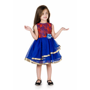 Floral Leaf Moti Embroidery Tulle Party Dress Orange & Royal Blue