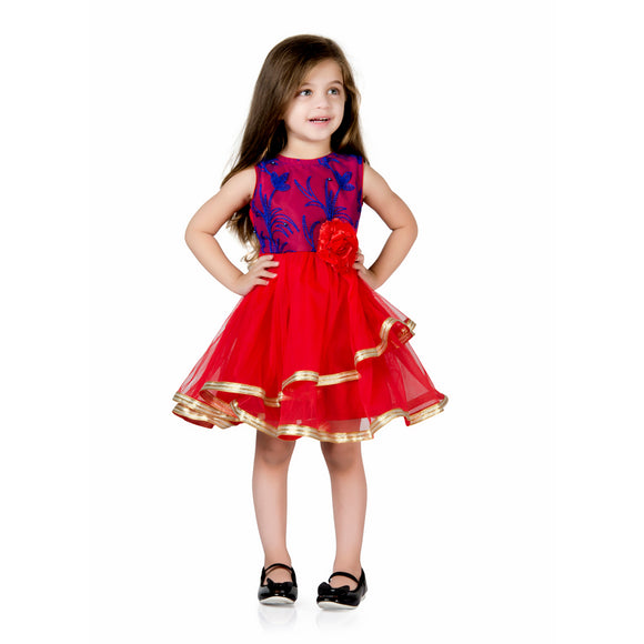 Floral Leaf Moti Embroidery Tulle Party Dress Royal Blue & Red