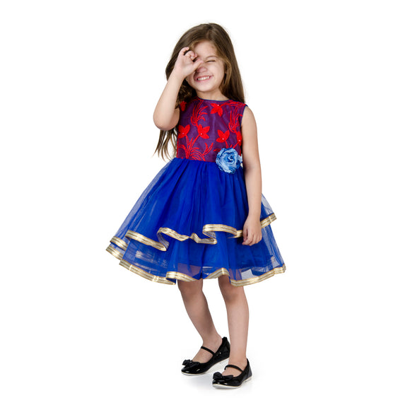 Floral Leaf Moti Embroidery Tulle Party Dress_Red & Royal Blue