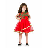 Floral Leaf Moti Embroidery Tulle Party Dress Green & RED