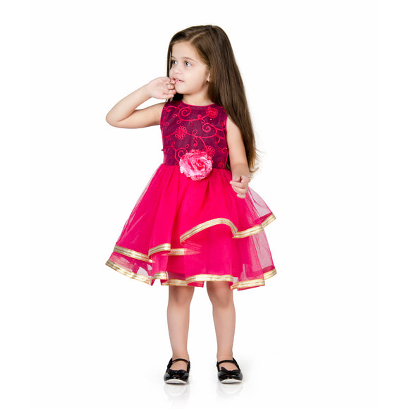 Floral Leaf Moti Embroidery Tulle Party Dress Fuschia Pink & BlaCk