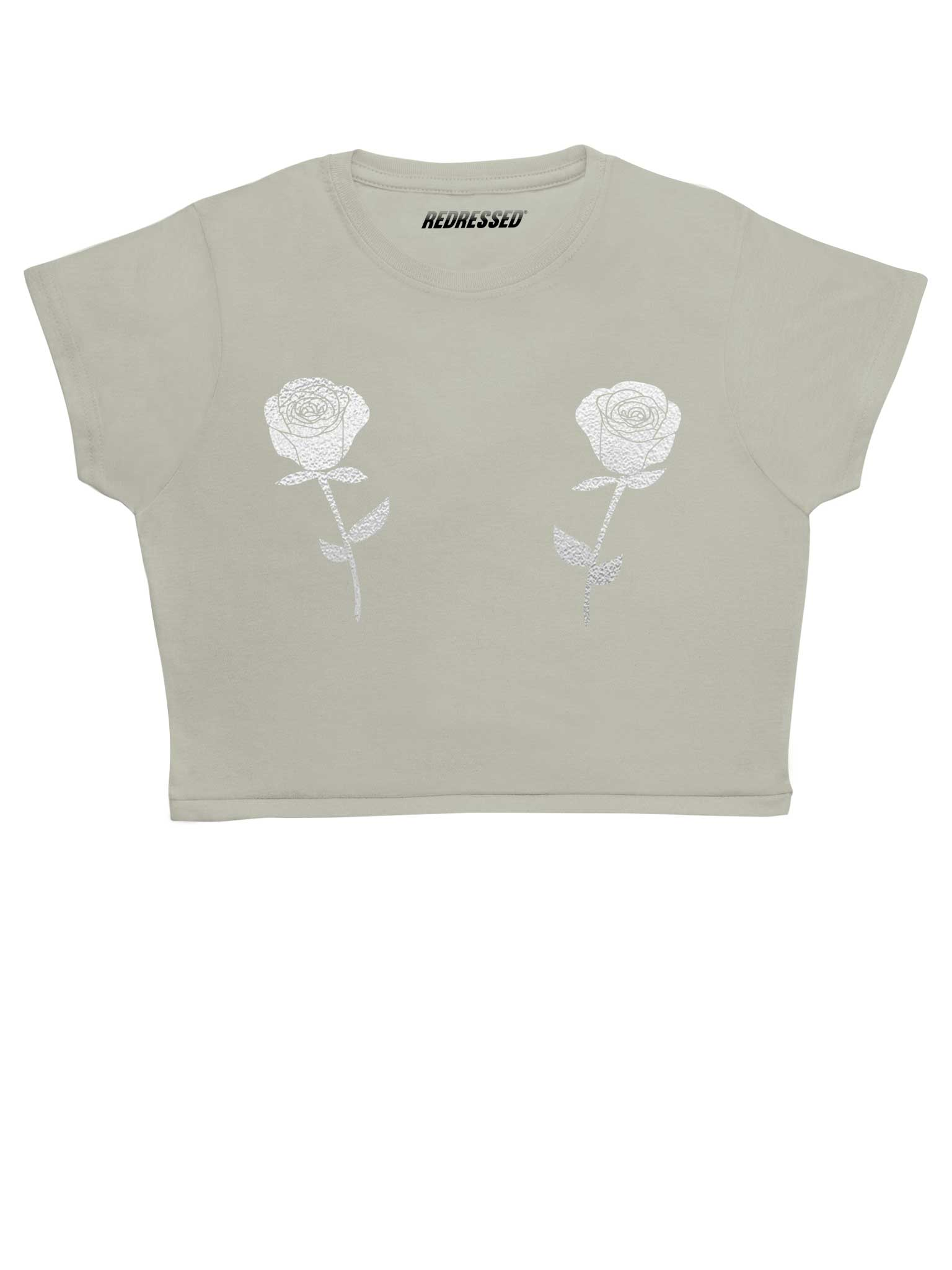 Silver Roses Crop Top
