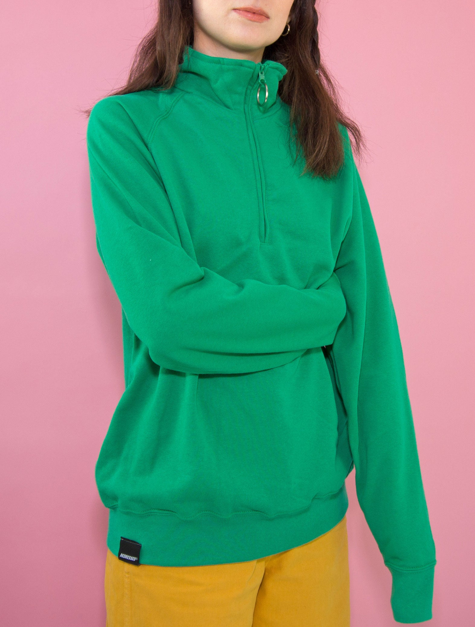 Green O-Ring Zip-up Sweatshirt