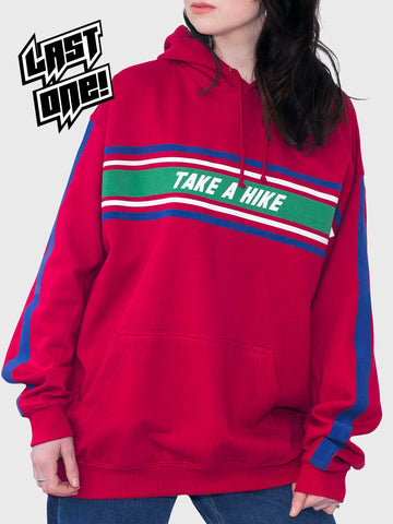 Take A Hike Red Oversized Hoodie