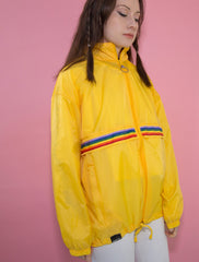 Rainbow O-Ring Zip-Up Yellow Windbreaker Jacket