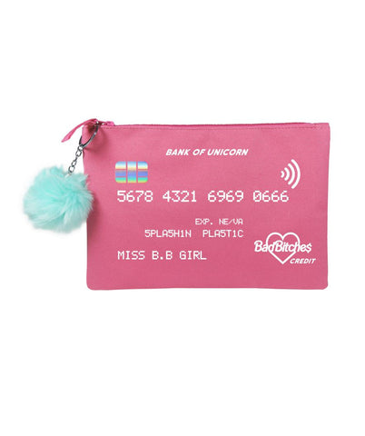 BadBitches Credit Card Pom-Pom Clutch