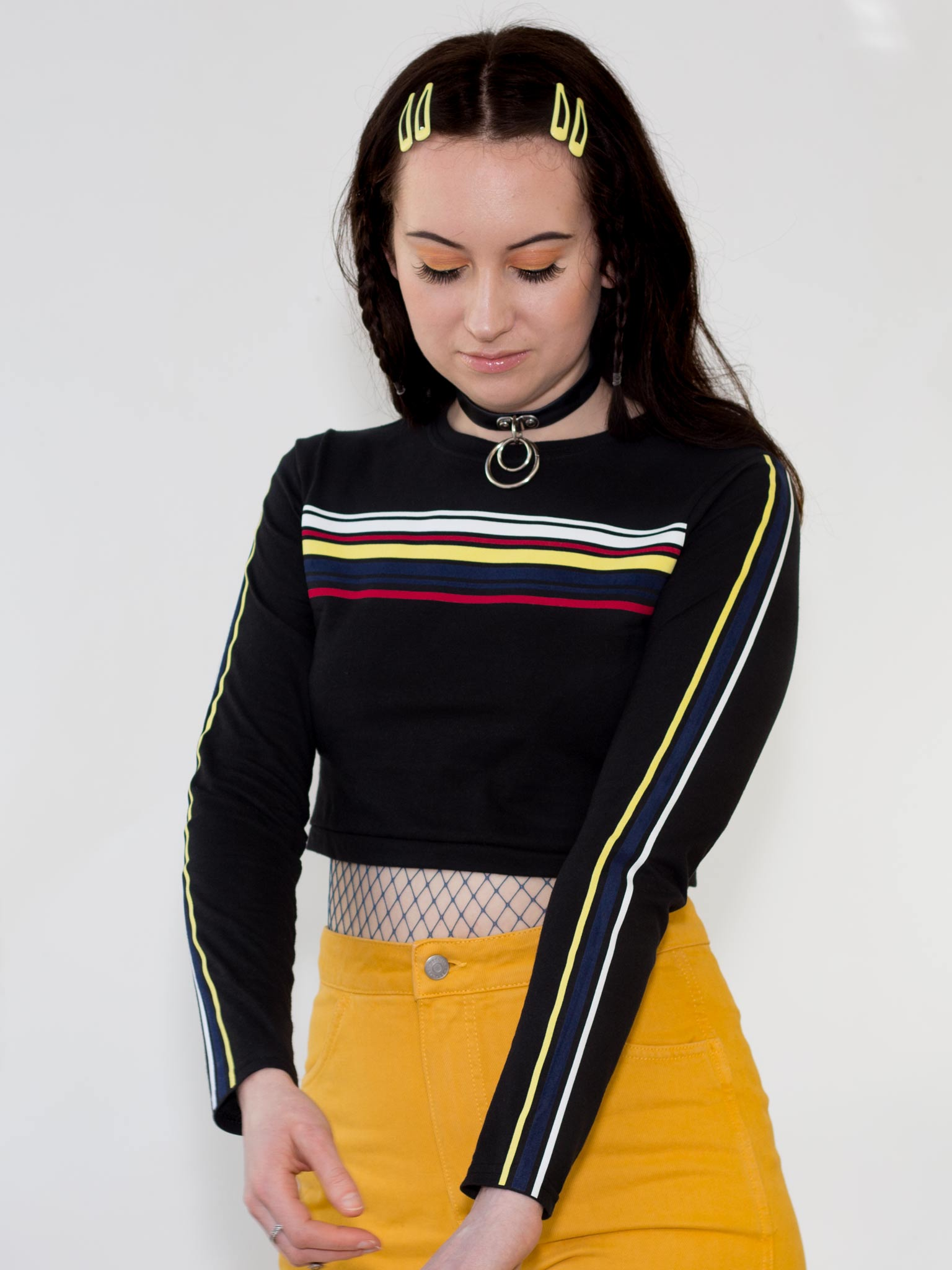 Big Stripey Lie Long Sleeved Crop Top