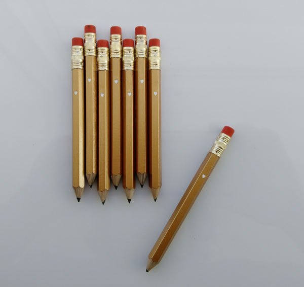 Gold Mini Pencil Set Wedding Favor Gold Wedding Gold Party Theme Bridal Shower
