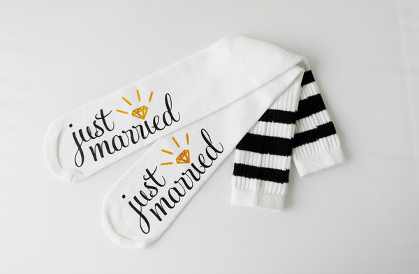 Just Married Bride Socks Knee High Wedding Socks Honeymoon Gifts Bridal Shower Gift Bride Gift