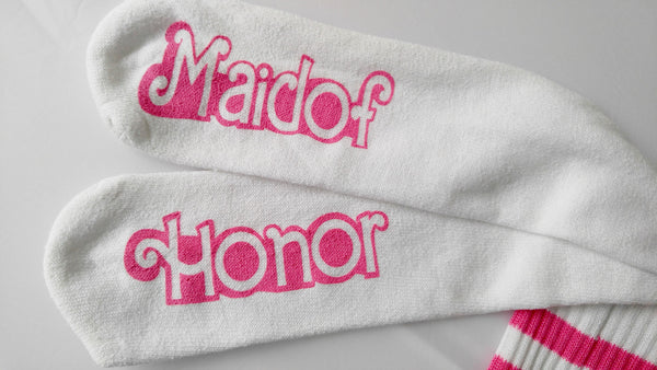 Maid of Honor Gift Wedding Socks Knee High Barbie Bachelorette Party Gift for Bridal Party
