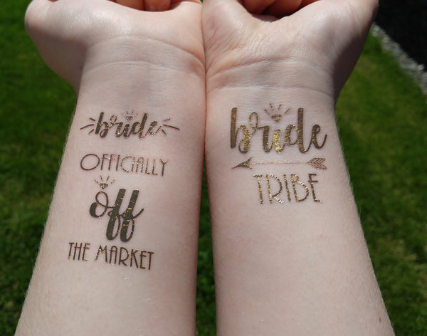Bride Tribe Tattoo Bachelorette Party Tattoo Metallic Temporary Tattoo Gold Foil Tattoo Hens Party