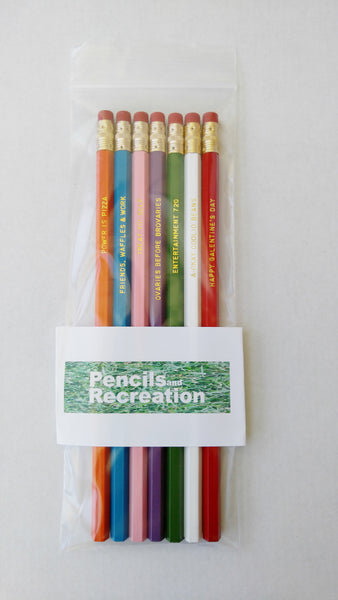 Parks and Recreation TV Show Gift Engraved Pencil Set Gold Foil Pencil Set Funny Pencils