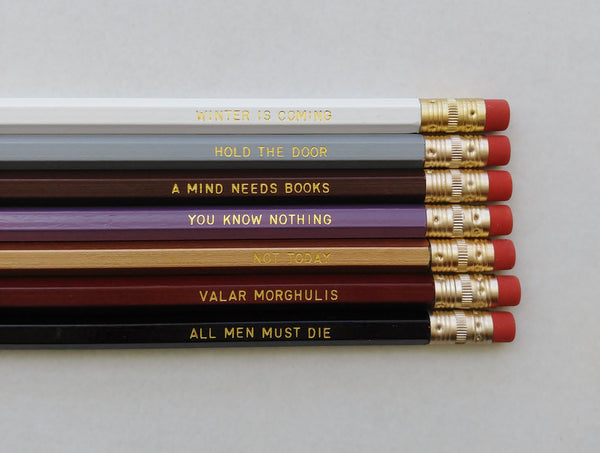 Game of Thrones Pencil Set Gift Engraved Pencil Set Gold Foil Pencil Set Engraved Pencils Gift