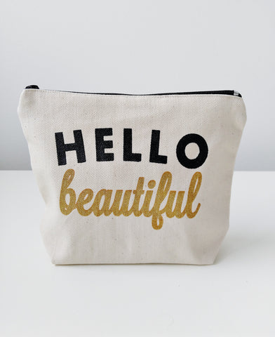 Hello Beautiful Canvas Makeup Bag Makeup Pouch Bridesmaid Gift Cosmetic Pouch Cosmetic Bag