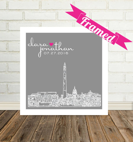 Unique Wedding Gift City Skyline Frame City Skyline Poster Any City Worldwide
