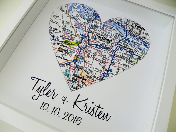 Unique Wedding Gift Personalized Map Heart Art Gift Custom Wedding Gift Any Location Available