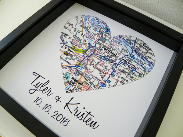 Personalized Wedding Map Heart Custom Gift for Couple  Define
