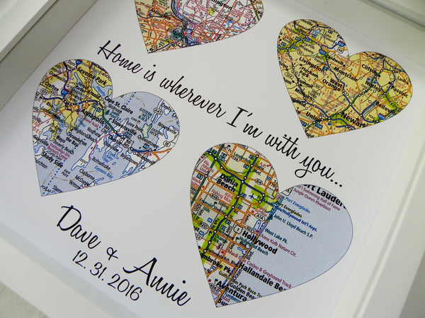 Map Heart Art Personalized Wedding Gift Custom Wedding Gift Any Location Available Wedding Gift Ideas Wedding Gift for Couple