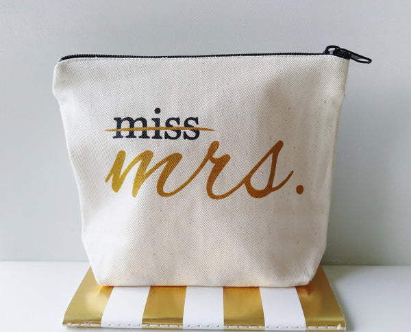 Miss to Mrs Canvas Makeup Bag Bride Gift Make Up Cosmetic Pouch Bride To Be Gift Bridal Shower Gift