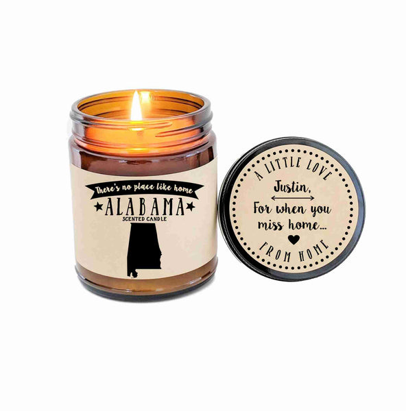 Alabama Scented Candle Missing Home Homesick Gift No Place Like Home State Candle