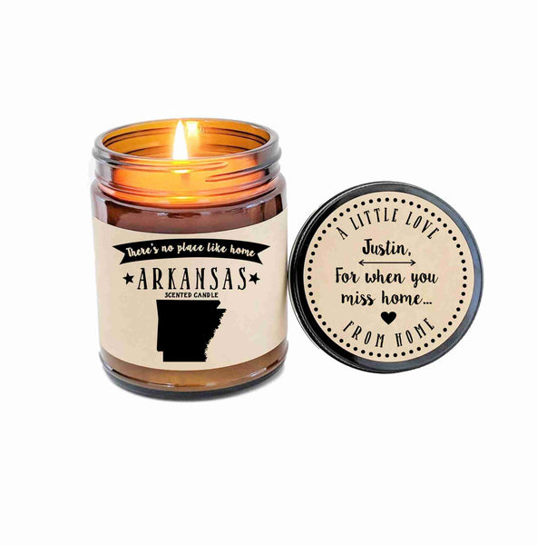 Arkansas Scented Candle Missing Home New Home Gift No Place Like Home State Candle