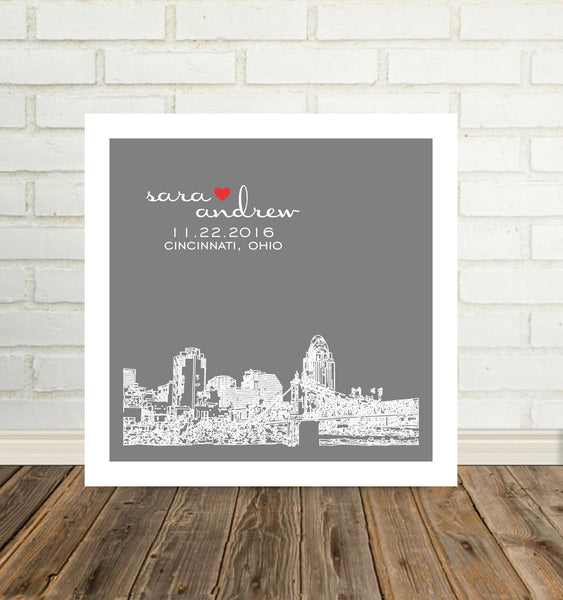 City Skyline Print Any Location Available Unique Engagement Gift for Couple Unique Wedding Gift