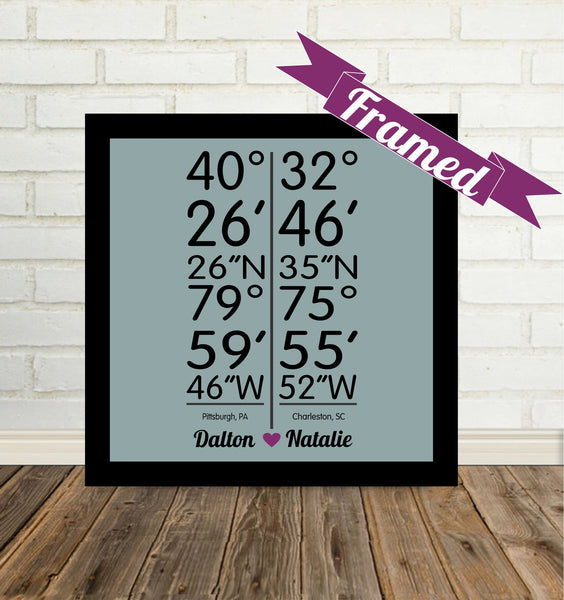 Personalized Latitude Longitude Personalized Coordinates LDR Gift Any City Available