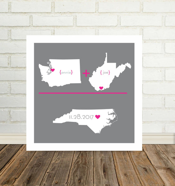 Custom Wedding Gift Personalized State Map Art Love Print Any Location Worldwide Long Distance Art