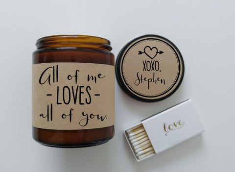 All of Me Loves All of You Gift for Him Wedding Gift Scented Soy Candle John Legend Music Lyrics