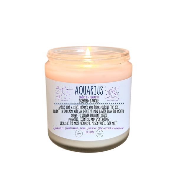 Aquarius Gift Zodiac Candle Zodiac Gifts Birthday Gift Birthday Candle  Birthday Gift for Her Birthday gift for Friend Holiday Gift Under 20