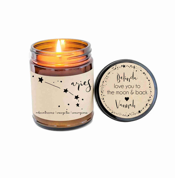 Aries Zodiac Candle Zodiac Gifts Birthday Gift Birthday Candle Personalized Soy Candle Aries Gift Star Candle Star Sign Gift for Her